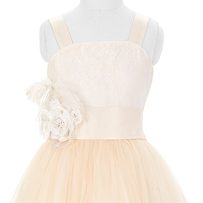 Flower Tulle Netting Flower Girl Princess Bridesmaid Wedding Pageant Party Dress