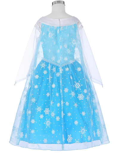 Blue Princess Long See-through Sleeve Lace Flower Girl Dress