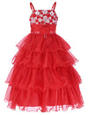 Grace Karin Spaghetti Straps Multi Layers Tulle Flower Girl Dress With Flowers