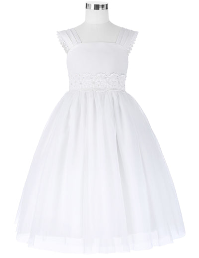 White Lace Tulle Netting Ankle-Length Flower Girl's Dress