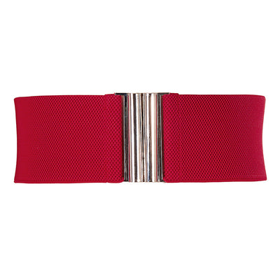 Grace Karin Polyester Alloy Wide Metal Hook Stretchy Elastic Waist Belt Waistband _Red