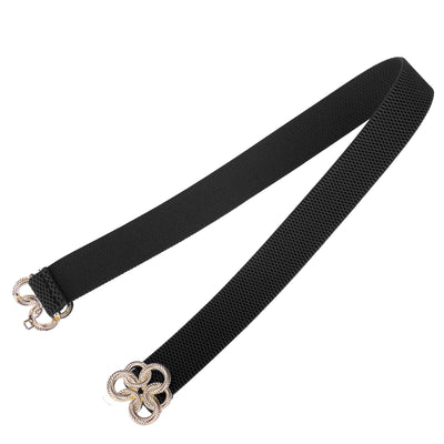 Elastic Polyester Golden Floral Interlock Waist Belt