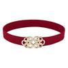 Grace Karin Women's High Stretchy Elastic Waist Belt With Golden Floral Interlock _Red