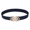 Grace Karin Women's High Stretchy Elastic Waist Belt With Golden Floral Interlock _Navy Blue