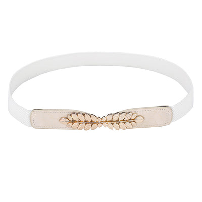 Grace Karin High Stretchy Elastic Polyester Alloy PU Leather Waist Belt With Metal Leaf Buckle_White
