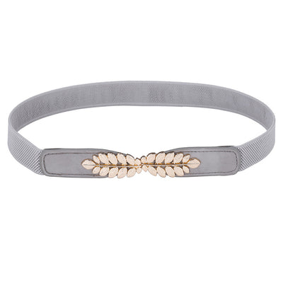 Grace Karin High Stretchy Elastic Polyester Alloy PU Leather Waist Belt With Metal Leaf Buckle_Grey