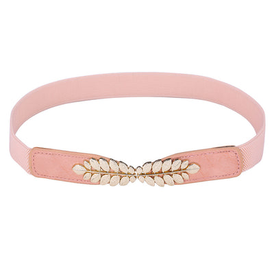 Grace Karin High Stretchy Elastic Polyester Alloy PU Leather Waist Belt With Metal Leaf Buckle_Pink