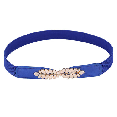 Grace Karin High Stretchy Elastic Polyester Alloy PU Leather Waist Belt With Metal Leaf Buckle_Blue