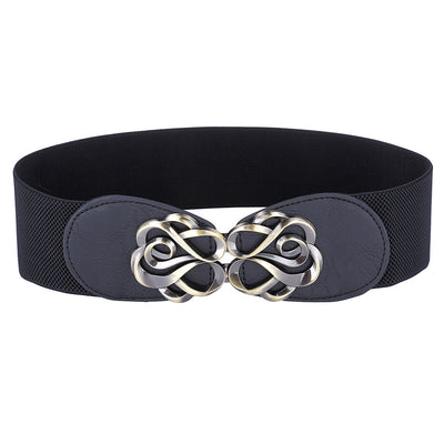 Grace Karin High Stretchy Elastic PU Leather Vintage Polyester Waist Belt With Metal Hook _Black