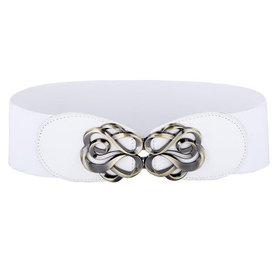 Grace Karin High Stretchy Elastic PU Leather Vintage Polyester Waist Belt With Metal Hook _White