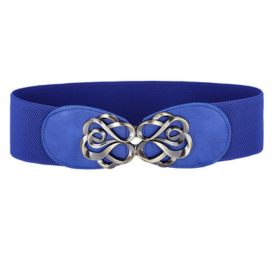 Grace Karin High Stretchy Elastic PU Leather Vintage Polyester Waist Belt With Metal Hook _Blue