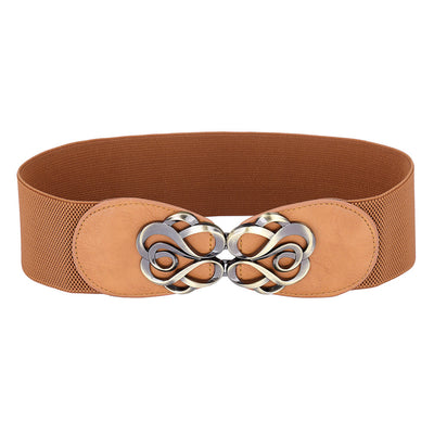 Grace Karin High Stretchy Elastic PU Leather Vintage Polyester Waist Belt With Metal Hook _Brown
