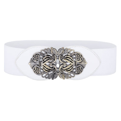 Grace Karin Skinny High Stretchy PU Leather Elastic Waistband Waist Belt With Metal Buckle_White