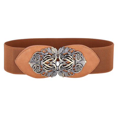 Grace Karin Skinny High Stretchy PU Leather Elastic Waistband Waist Belt With Metal Buckle_Brown