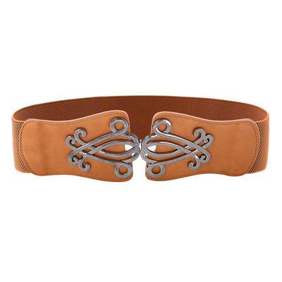 Grace Karin High Stretchy Elastic Alloy PU Leather Vintage Polyester Waist Belt_Brown