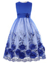 Green and Blue Multi Layers Tulle Netting Lace Princess Flower Girl's Dress