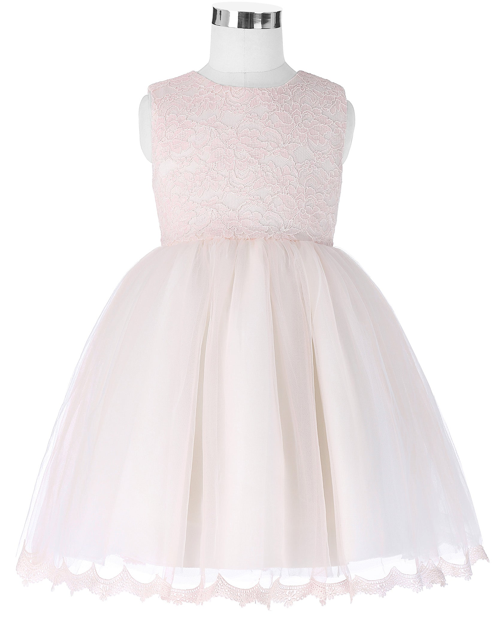 Grace Karin Sleeveless Lacetulle Netting Flower Girl Dress With Bow Knot