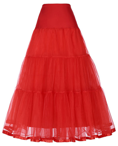 Pleated Spandex Crinoline Petticoat Underskirt Vintage Style For Women_Red