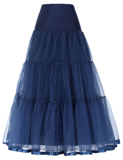 Pleated Spandex Crinoline Petticoat Underskirt Vintage Style For Women_Navy Blue
