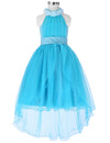 Grace Karin High-Low Halter Princess Flower Girl Dress With Flowers And Beads_Sky Blue