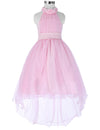 Grace Karin High-Low Halter Princess Flower Girl Dress With Flowers And Beads_Pink