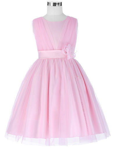 Grace Karin Round Neck A Line Princess Multi Layers Soft Tulle Netting Flower Girl Dress With Flower_Pink