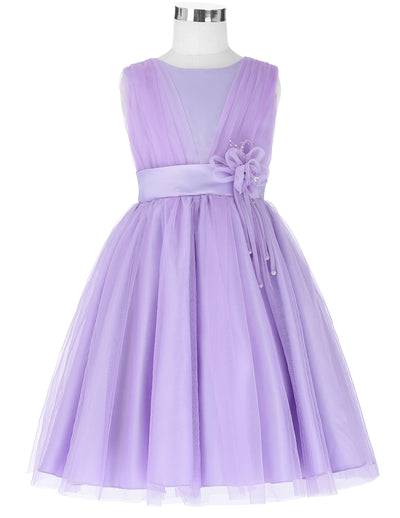 Grace Karin Round Neck A Line Princess Multi Layers Soft Tulle Netting Flower Girl Dress With Flower_Lilac