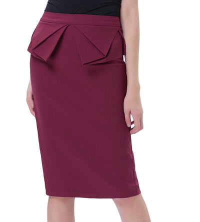 Solid Color High Stretchy Hips-Wrapped Pencil Skirt