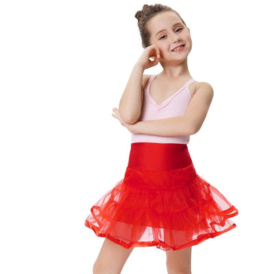 Grace Karin Girl's Two Layers Tiered Retro Vintage Dress Crinoline Underskirt Petticoat_Red