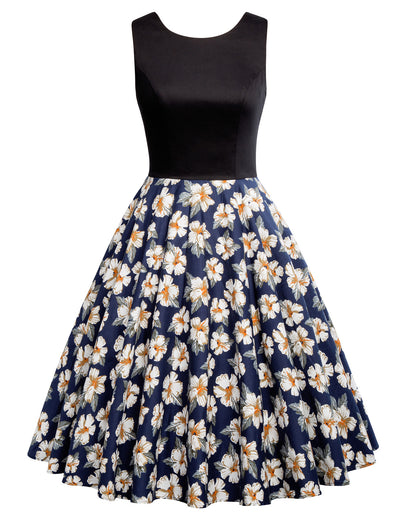 1950s Retro Vintage O-Neck Sleeveless Dress