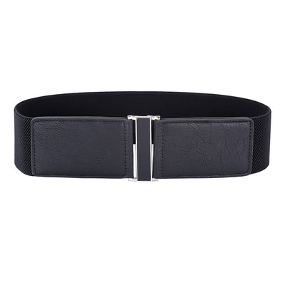 Grace Karin Vintage Womens Ladies Casual Waistband Buckle Stretchy Elastic Retro Waist Belts_Black