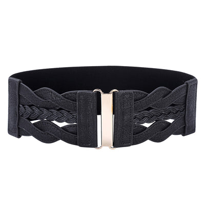Grace Karin Retro Women Ladies PU Leather Wide Waistband Braided Stretchy Elastic Waist Belt_Black