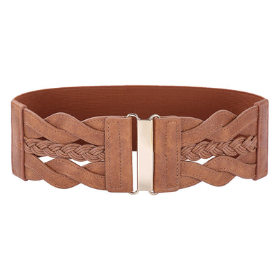 Grace Karin Retro Women Ladies PU Leather Wide Waistband Braided Stretchy Elastic Waist Belt_Brown