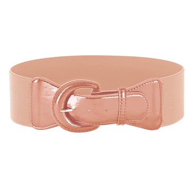 Elastic Corset Polyester Waist Belt With PU Leather Buckle
