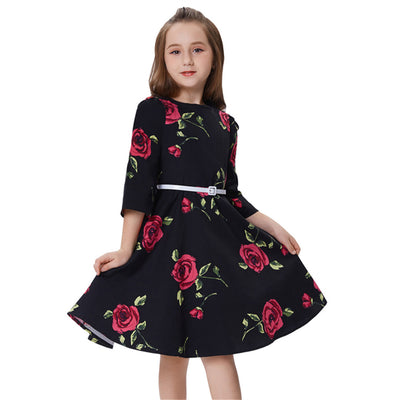 Grace Karin Children Kids Vintage Retro Style Black Cotton Flower Pattern Nine Point Bell Sleeve Party Girl's Dress with Belt