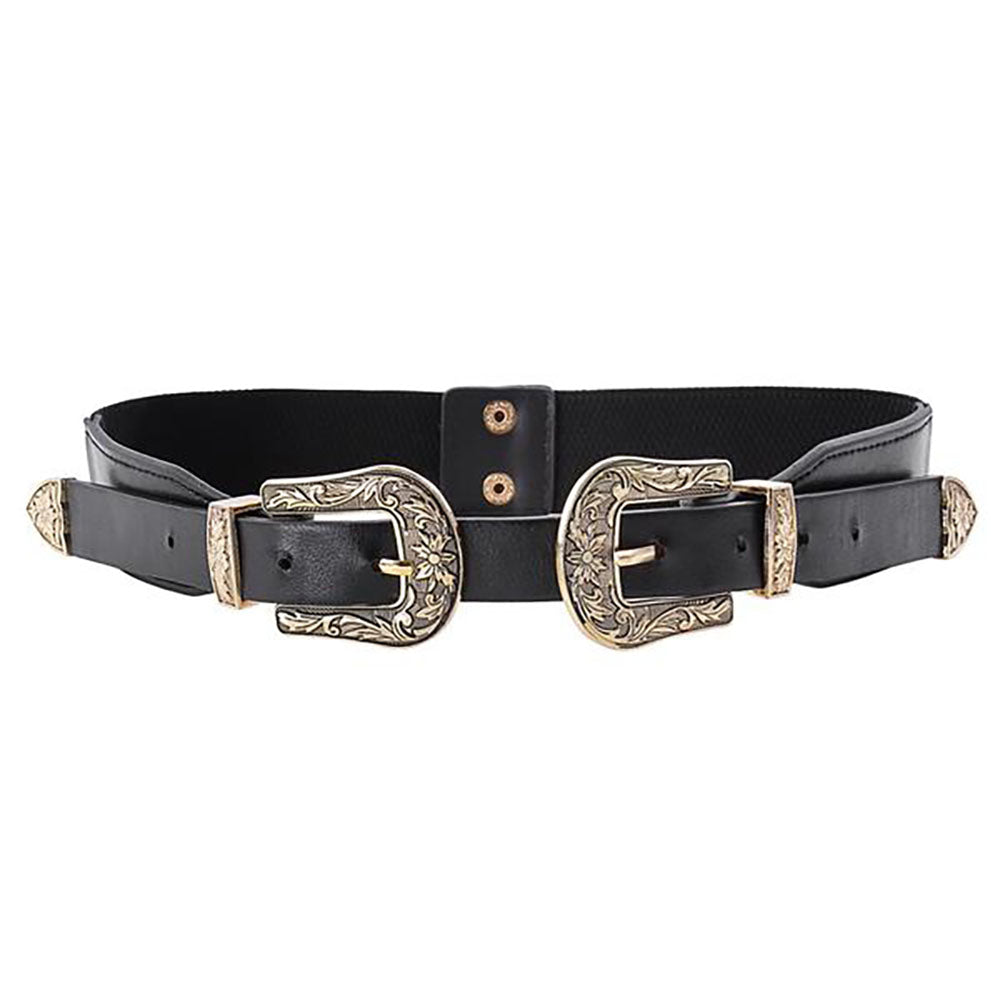 Occident Women Vintage Boho Double Metal Buckle Belt Elastic Band - PRÉVENTE
