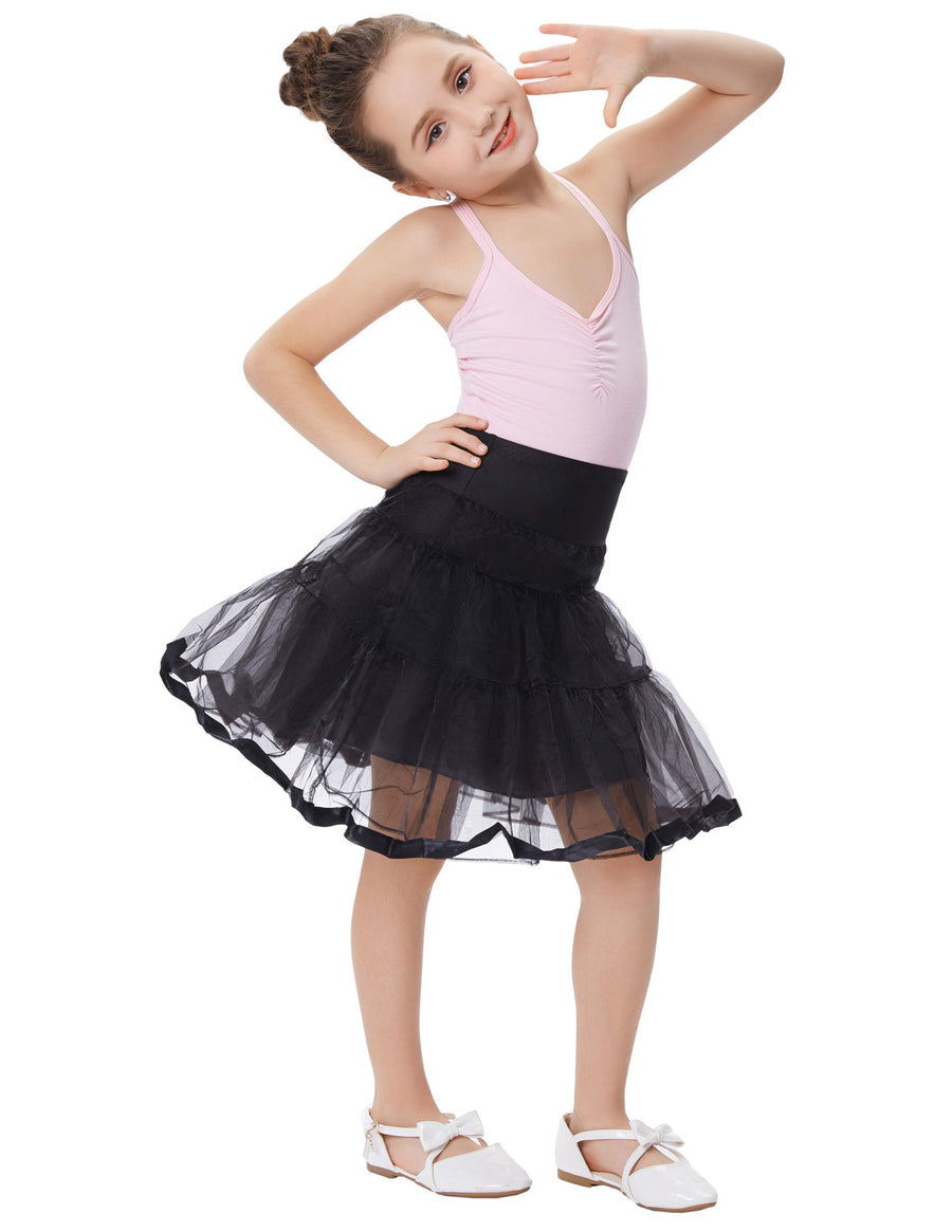 Grace Karin Girl's Two Layers Tiered Retro Vintage Dress Crinoline Underskirt Petticoat_Black