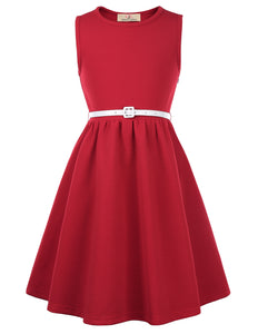 Girls Skater Dress - Sleeveless, Round Neck, A-Line