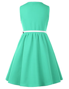 GRACE KARIN Children Kids Girls Sleeveless Round Neck A-Line Skater Dress_Aquamarine