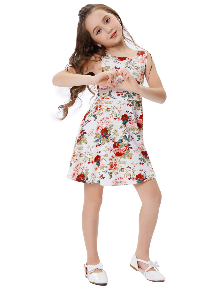 Children Kids Sleeveless Flower Pattern Knee-Length A-Line Girl's Dress