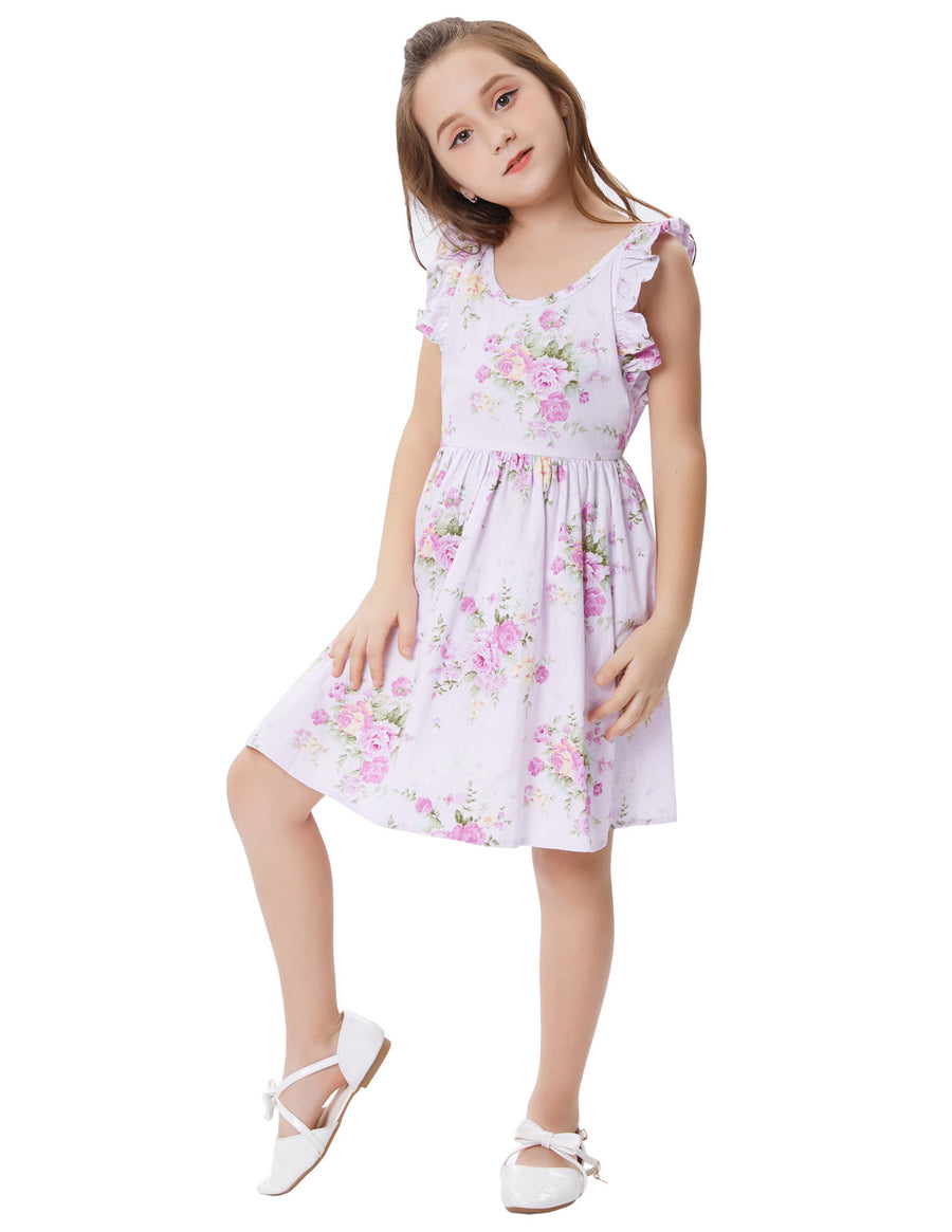 Grace Karin Children Kids Lilac Floral Pattern Sleeveless Cross Back Cotton Girl's Party Dress