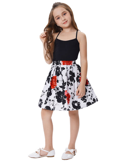 Grace Karin Cute Children Kids Flower Pattern Elastic Waist Pleated Cotton A-Line Girl's Skirt with two open side-entry pockets_Red+Black+White