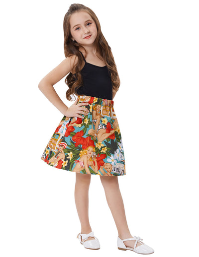 Grace Karin Cute Children Kids Flower Pattern Elastic Waist Pleated Cotton A-Line Girl's Skirt with two open side-entry pockets_Orange