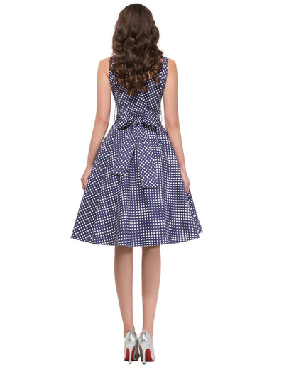 Polka Dots Pattern V-Neck Cotton Swing Party Dress with Belt