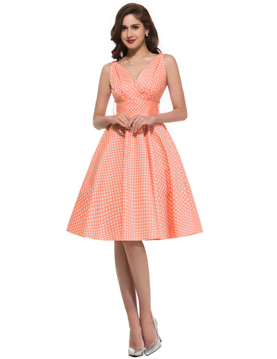 GRACE KARIN Retro Vintage Style Polka Dots Pattern Sleeveless V-Neck Pleated Bodice Cotton Swing Party Dress with Belt-Salmon