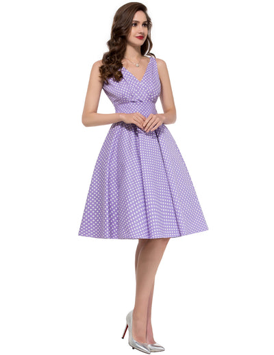 GRACE KARIN Retro Vintage Style Polka Dots Pattern Sleeveless V-Neck Pleated Bodice Cotton Swing Party Dress with Belt-Lilac