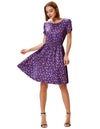 Purple and Green Summer Dinosaur Pattern Casual Dress