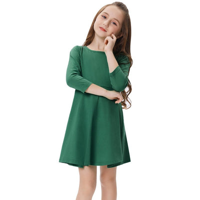 Grace Karin Children Kids Solid Color Long Sleeve Crew Neck Cotton A-Line Girl's Dress _Dark Green