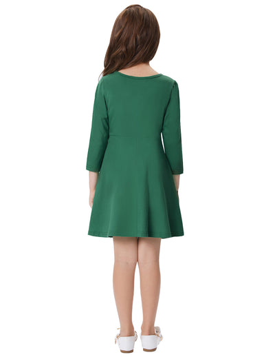 Solid Color Long Sleeve Crew Neck Cotton A-Line Girl's Dress
