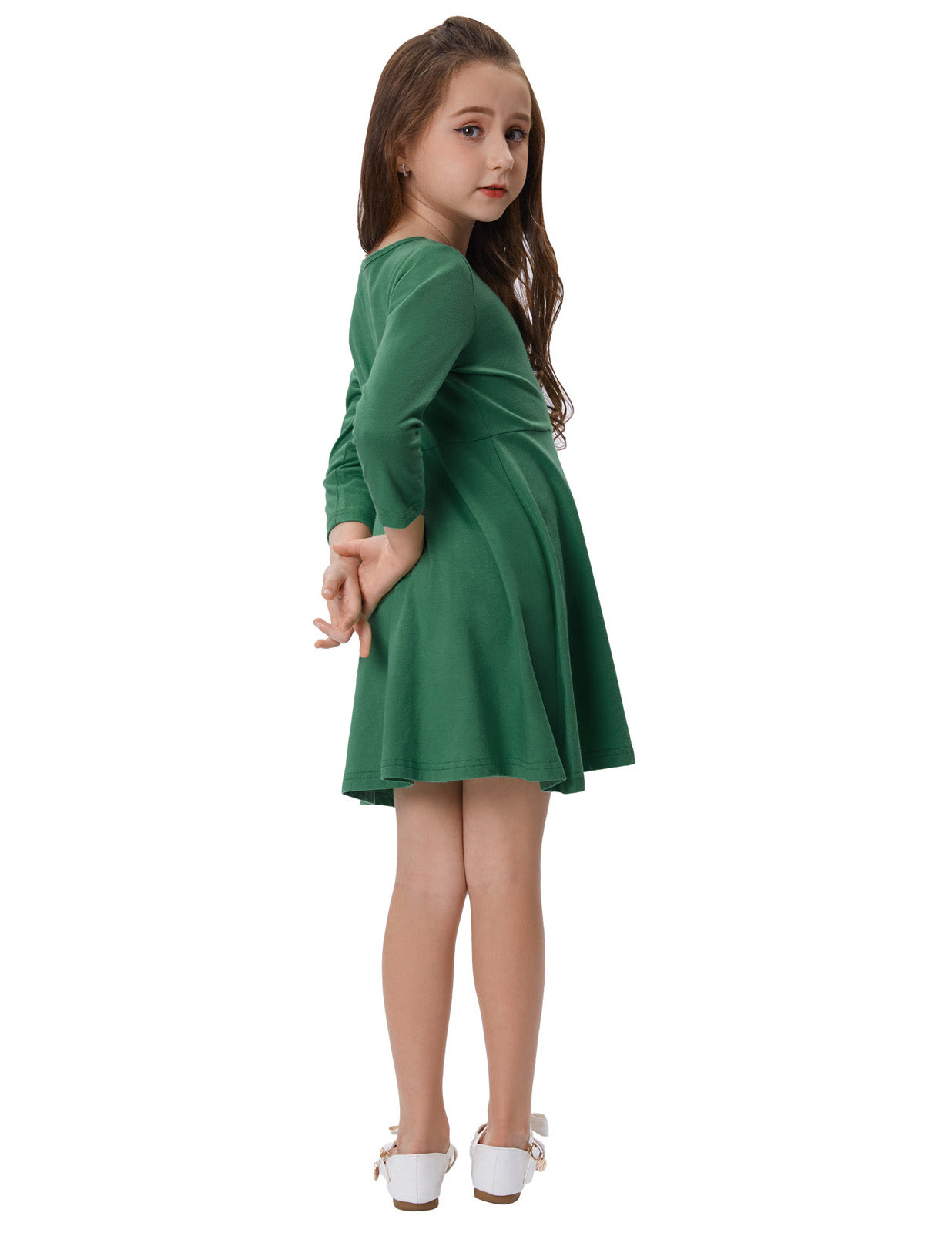 GRACE KARIN Children Kids Solid Color Long Sleeve Cotton Girl\'s Dress